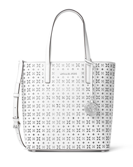 MICHAEL Michael Kors Hayley Medium Laser-Cut Tote Bag, White/Silver