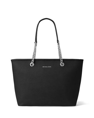 Jet Set Chain Saffiano Multifunction Tote Bag, Black