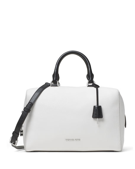 MICHAEL Michael Kors Kirby Large Leather Satchel Bag, White/Black