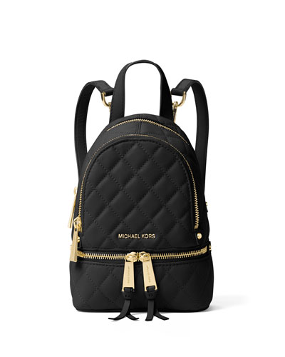 Rhea XS Quilted Messenger Backpack, Black