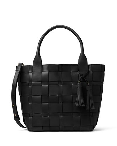 Vivian Medium Woven Tote Bag, Black