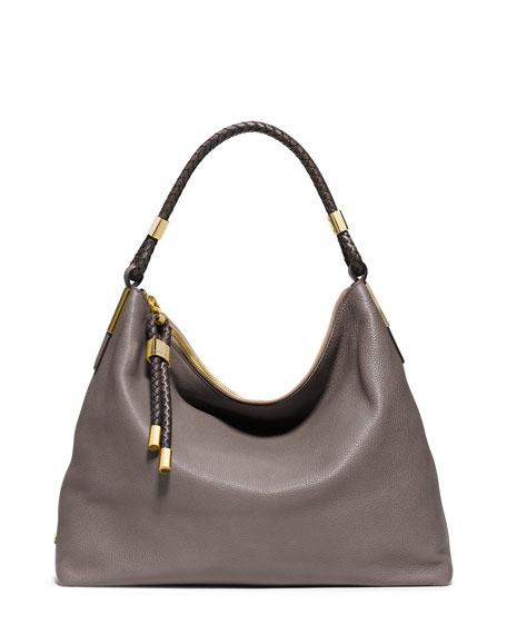 Skorpios Braid-Trim Leather Shoulder Bag, Elephant