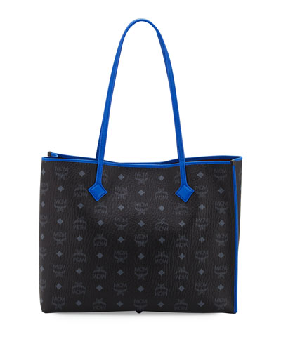 Kira Medium Visetos Shopper Shoulder Tote Bag, Black/Blue
