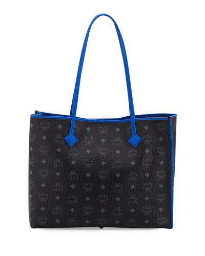 Kira Medium Visetos Shopper Shoulder Tote Bag, Black/Blue