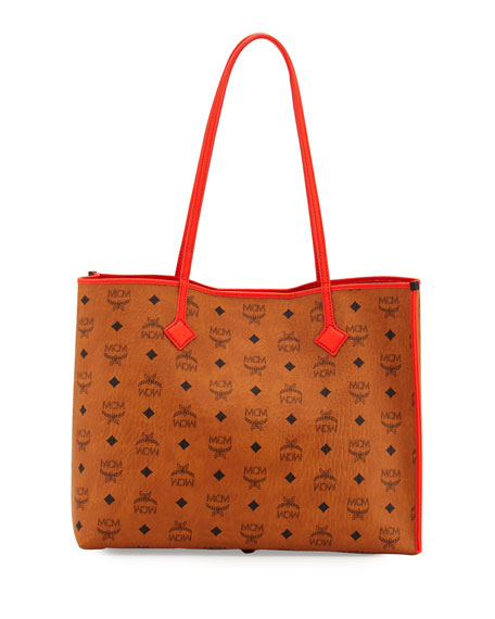 MCMKira Medium Visetos Shopper Shoulder Tote Bag, Cognac