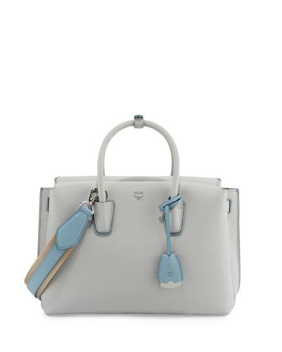 Milla Medium Leather Tote Bag, Whisper Gray