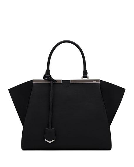 Fendi 3Jours Leather Satchel Bag, Black