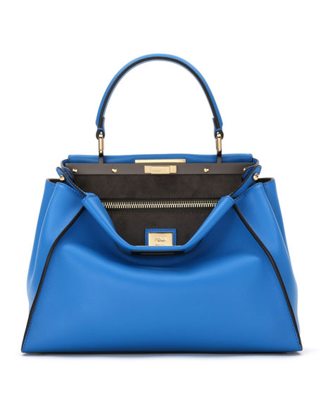 Peekaboo Medium Leather Satchel Bag, Royal Blue