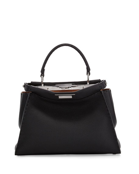 FendiPeekaboo Medium Leather Satchel Bag, Black
