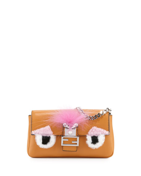 Fendi Baguette Micro Bag Bugs Crossbody Bag, Ginger