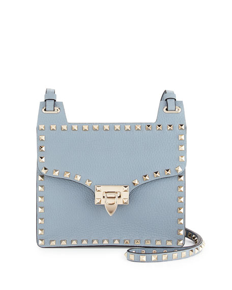 Valentino Rockstud Lock-Flap Square Shoulder Bag, Gray