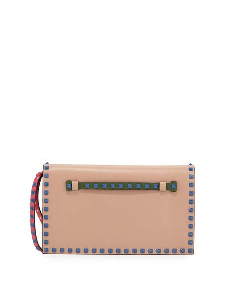 Valentino Rockstud 4-Color Flap Wristlet Clutch Bag, Beige/Blue/Pink/Green
