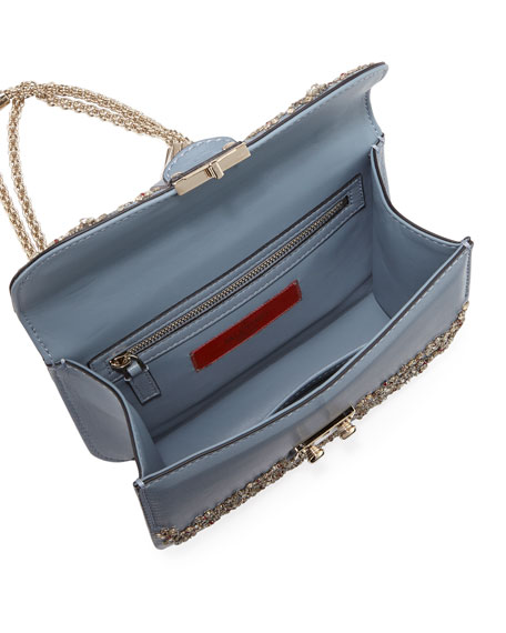 Crystal Small Lock Shoulder Bag, Ruby Gray