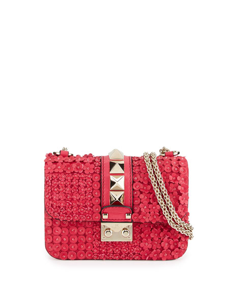 Mini Lock Floral-Appliqué Leather Shoulder Bag, Fuchsia