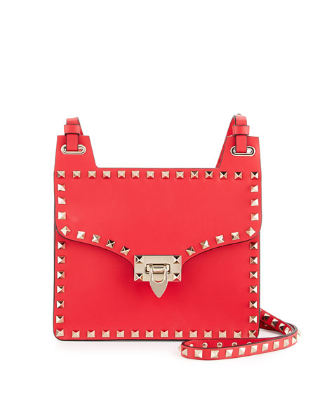 Valentino Rockstud Leather Lock-Flap Square Shoulder Bag, Bright Red