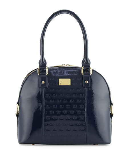 St. John Collection Logo-Embossed Patent Dome Satchel Bag,