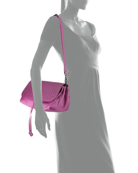 Intrecciato Medium Flap Crossbody Bag, Peony Pink