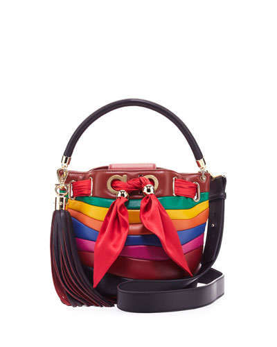 Sara Small Bucket Bag, Rosso