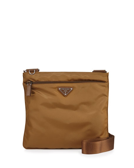 Prada Vela Small Nylon Crossbody Bag, Tobacco