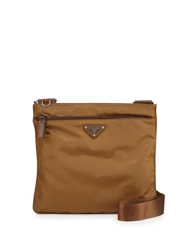 703627639556 Prada Vela Small Nylon Crossbody Bag, Tobacco | Neiman Marcus