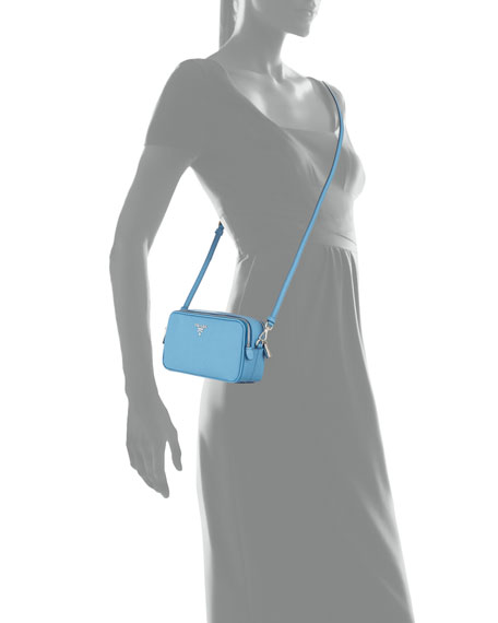 Saffiano Mini Crossbody Bag, Light Blue (Mare)