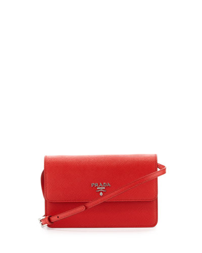 Saffiano Small Wallet-on-a-Strap, Red (Lacca)