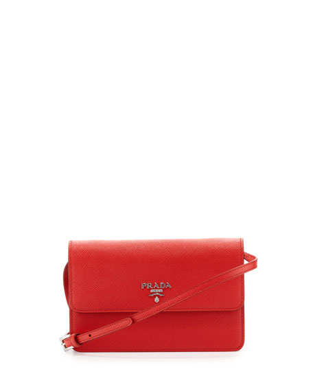 Prada Saffiano Small Wallet-on-a-Strap, Red (Lacca)