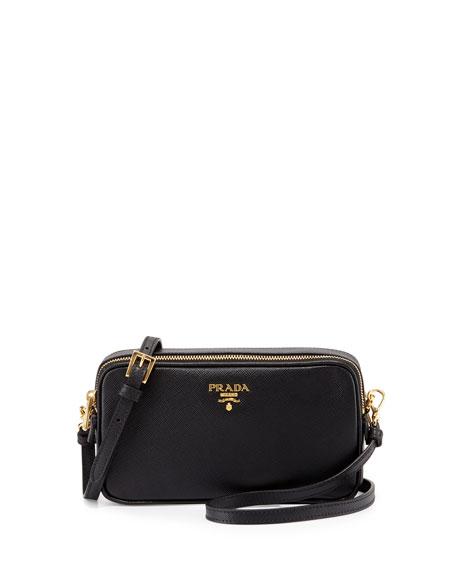 Prada Saffiano Mini Crossbody Bag, Black (Nero)