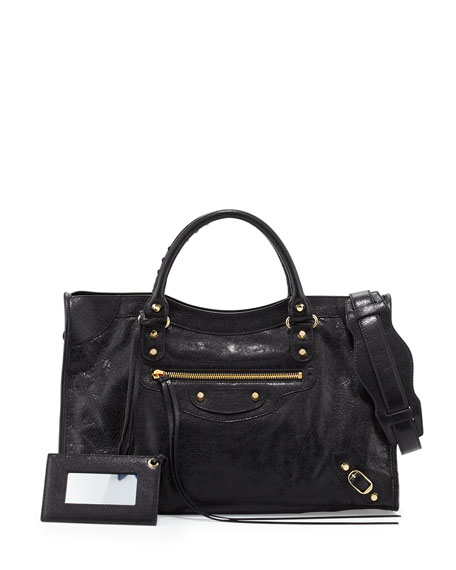 Balenciaga Classic Gold City Lambskin Tote Bag, Black