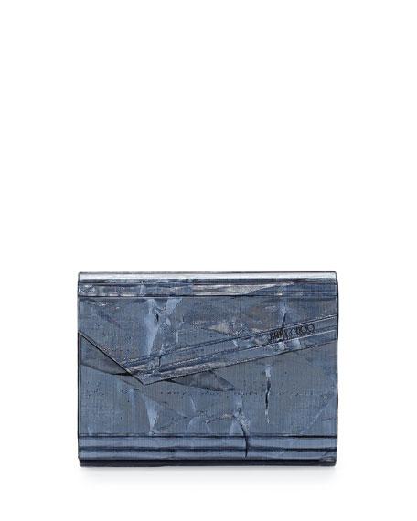 Jimmy Choo Candy Resin Crinkle Clutch Bag, Denim