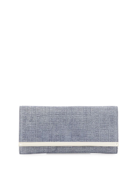 Jimmy Choo Milla Denim Clutch Bag, Indigo