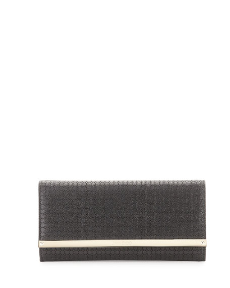 Jimmy Choo Milla Glitter Fabric Clutch Bag, Black
