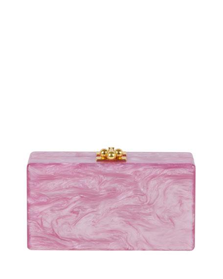 Jean Leopard Box Clutch Bag, Mauve