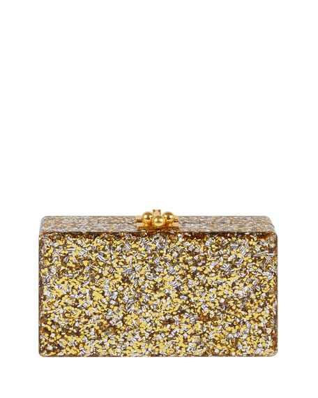 Jean Paws Box Clutch Bag, Gold/Silver
