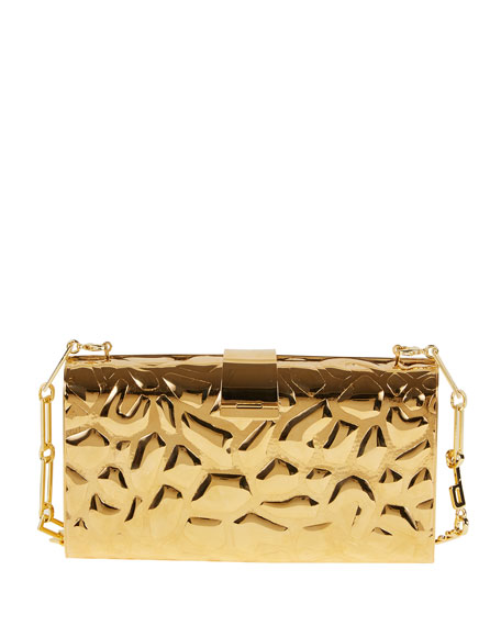 Edie Parker Rebekah Metal Giraffe-Pattern Clutch Bag, Golden