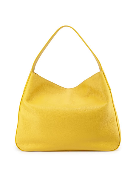 Prada Vitello Daino Leather Medium Wide-Strap Hobo Bag, Yellow (Sole)