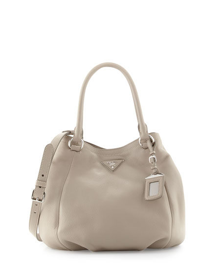 Prada Vitello Daino Small Satchel Bag, Light Gray