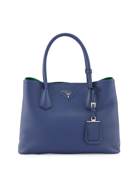 PradaVitello Daino Small Double Tote Bag, Royal/Teal