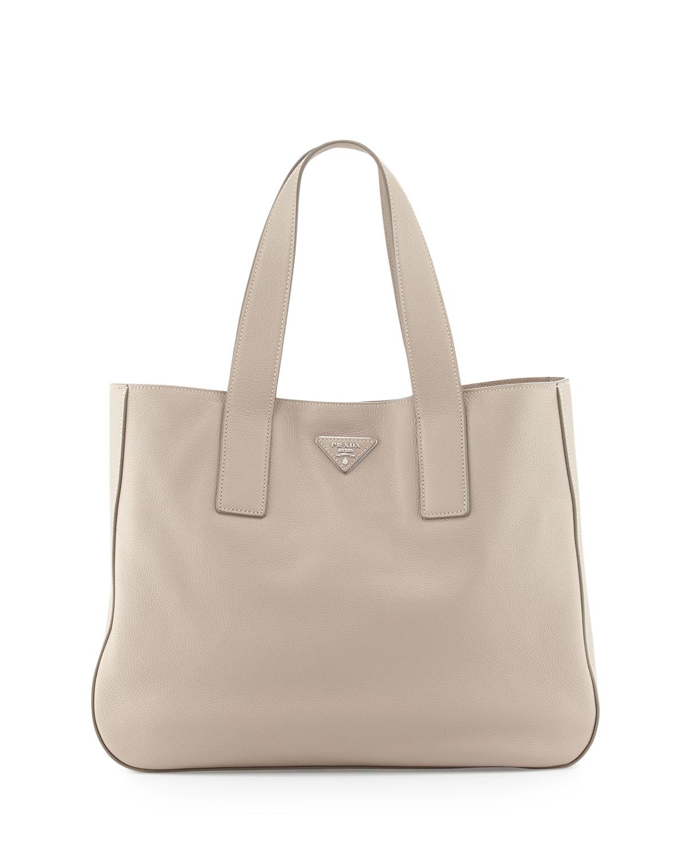 6f041bed6670 Prada Vitello Daino Medium Open Wide-Strap Tote Bag, Light Gray (Pomice)