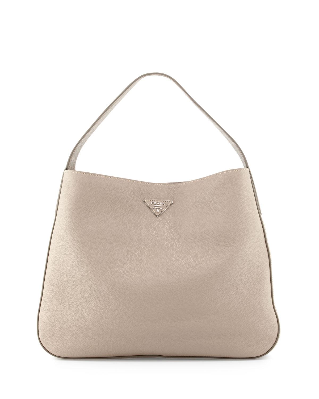 0875852d0b98 Prada Vitello Daino Leather Medium Wide-Strap Hobo Bag, Light Gray (Pomice)