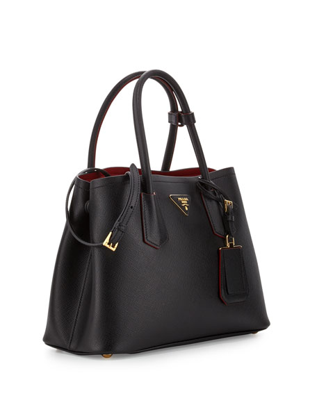 Prada Saffiano Cuir Double Mini Tote Bag, Black/Red (Nero+Rosso)