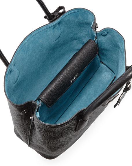 Prada Vitello Daino Small Double Tote Bag, Black/Blue (Nero/Blu)