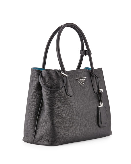 Prada Vitello Daino Small Double Tote Bag, Black/Blue (Nero/Blu)