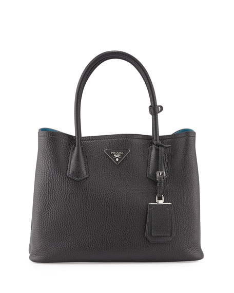 PradaVitello Daino Small Double Tote Bag, Black/Blue (Nero/Blu)