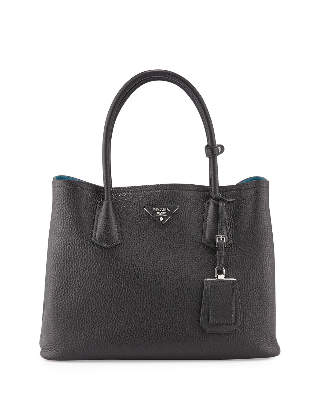 ee0196affb93 Prada Vitello Daino Small Double Tote Bag