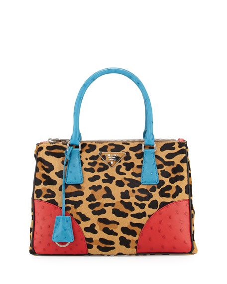 Prada Calf Hair & Ostrich Small Double Tote
