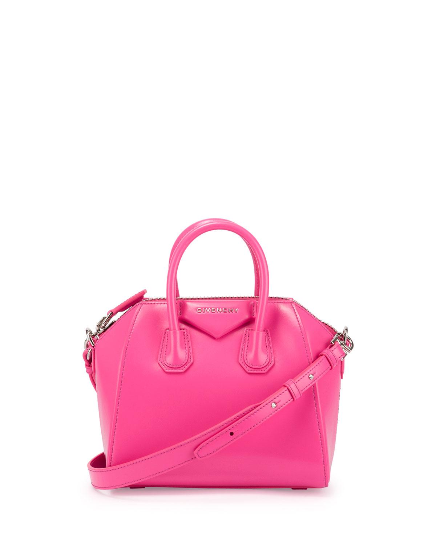 Antigona Mini Box Calfskin Satchel Bag Bright Pink