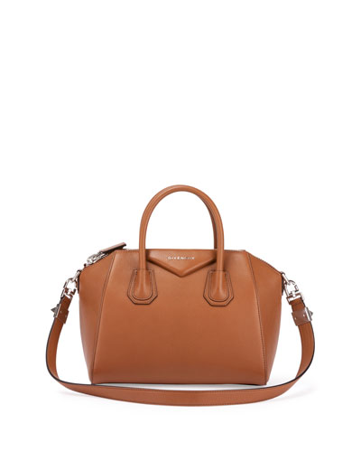 Antigona Small Sugar Goatskin Satchel Bag, Caramel