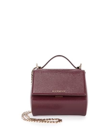 Pandora Box Patent Mini Chain Shoulder Bag, Oxblood