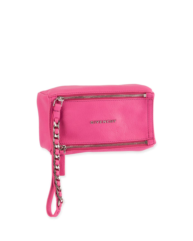 d5c906176f Givenchy Pandora Leather Wristlet Pouch Bag, Bright Pink | Neiman Marcus